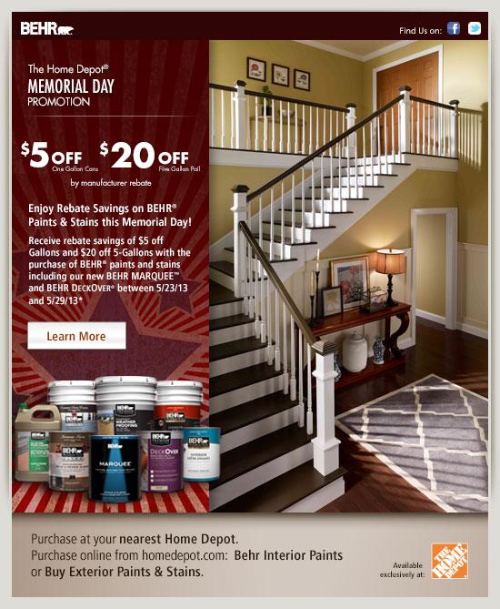 Memorial day promo for Home depot memorial day paint rebate