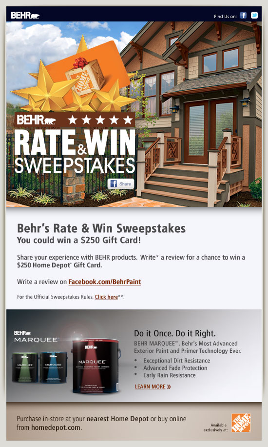 Behr s rate win sweepstakes you could win a 250 gift - Behr marquee exterior paint reviews ...