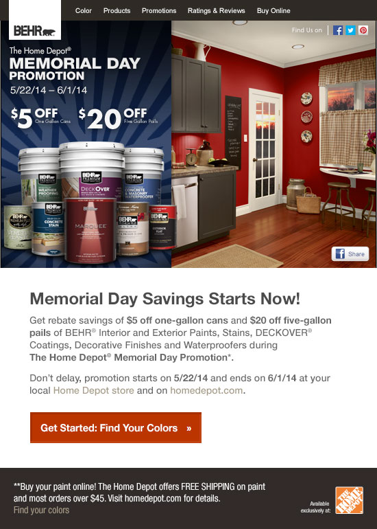 Memorial day savings on behr paints stains at the home for Home depot memorial day paint rebate
