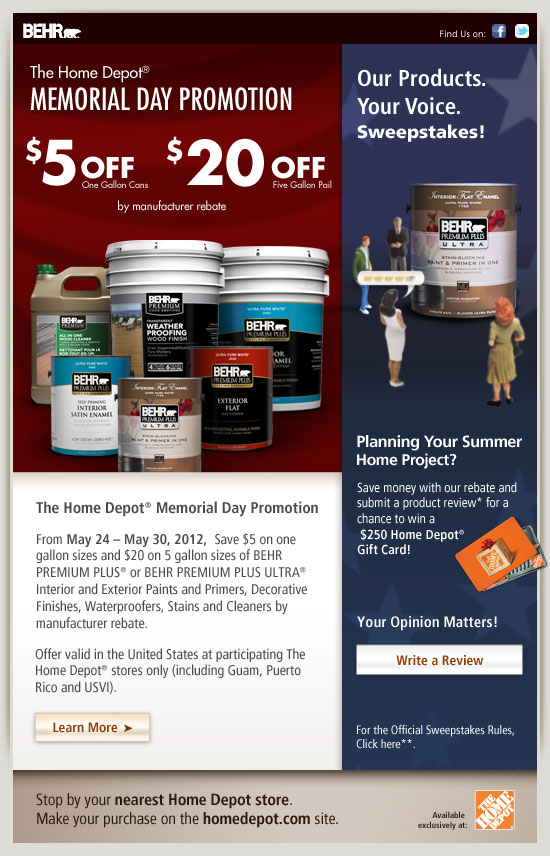 Behr premium plus ultra interior paint primer in one for Home depot memorial day paint rebate