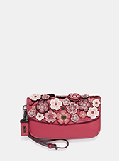Clutch With Small Tea Rose | Red coach wristlet with flowers