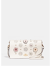 Foldover Crossbody Clutch With Cut Out Tea Rose | White foldover crossbody bag with flower print