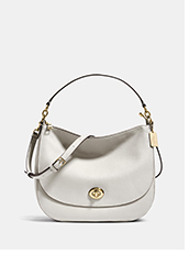 Turnlock Hobo | White shoulder bag with gold turnlock