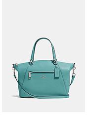Prairie Satchel | light blue satchel coach bag with silver zipper across