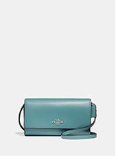 Phone Crossbody | light blue coach crossbody bag with silver coach logo