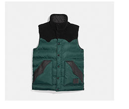 Coach Teal and Black Puffer Vest