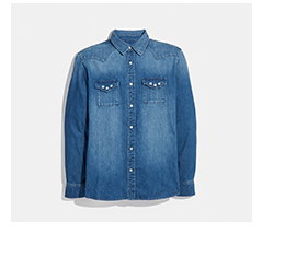 Coach Denim Button Down Shirt with Design on Chest