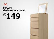 MALM 6-drawer chest $149