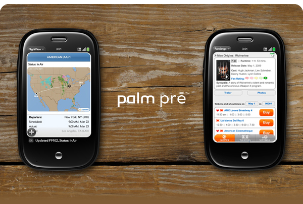 Palm Pre device with FlightView and Fandango screens