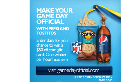 NFL: Make your Game Day Official with Pepsi and Tostitos - Enter daily for your chance to win the Ultimate Tailgate Package.