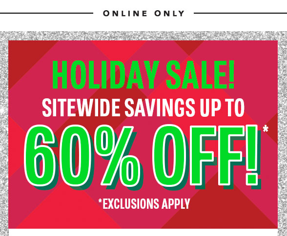 Sitewide Savings Up to 60% Off