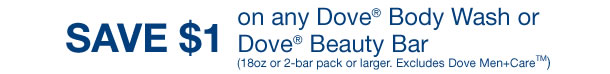 SAVE $1 on any Dove Body Wash or Dove Beauty Bar