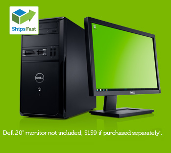 "Dell 20"" monitor not included, $159 if purchased separately."