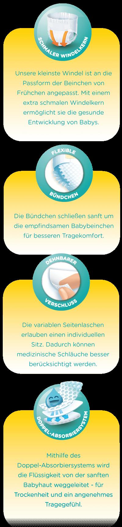Schmaler Windelkern: Unsere kleinste Windel ist an die Passform der Beinchen von Frühchen angepasst. Mit einem extra schmalen Windelkern ermöglicht sie die gesunde Entwicklung von Babys. – Flexible Bündchen: Die Bündchen schließen sanft um die empfindsamen Babybeinchen für besseren Tragekomfort. – Dehnbarer Verschluss: Die variablen Seitenlaschen erlauben einen individuellen Sitz. Dadurch können medizinische Schläuche besser berücksichtigt werden. – Doppel-Absorbiersystem: Mithilfe des Doppel-Absorbiersystems wird die Flüssigkeit von der sanften Babyhaut weggeleitet – für Trockenheit und ein angenehmes Tragegefühl.
