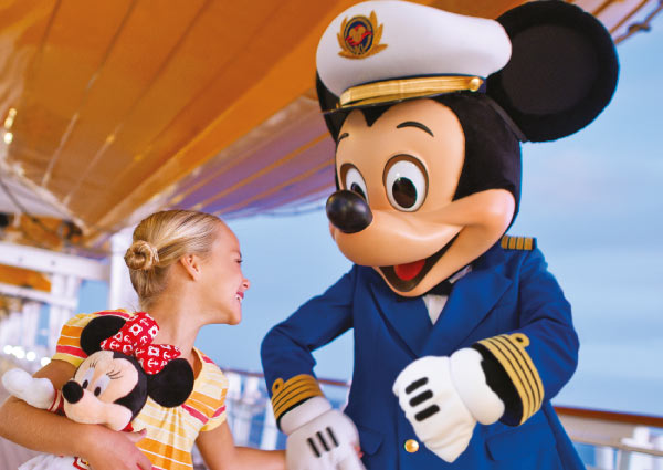 Image of Mickey and girl on board Disney Cruise Line ship